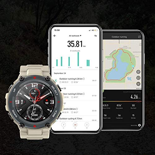 """Amazfit T-Rex Smartwatch, Military Standard Certified, Tough Body, GPS, 20-Day Battery Life, 1.3"""" AMOLED Display, Water Resistant, 14-Sports Modes, Khaki (W1919US2N) 51dYVqoh7qL"""