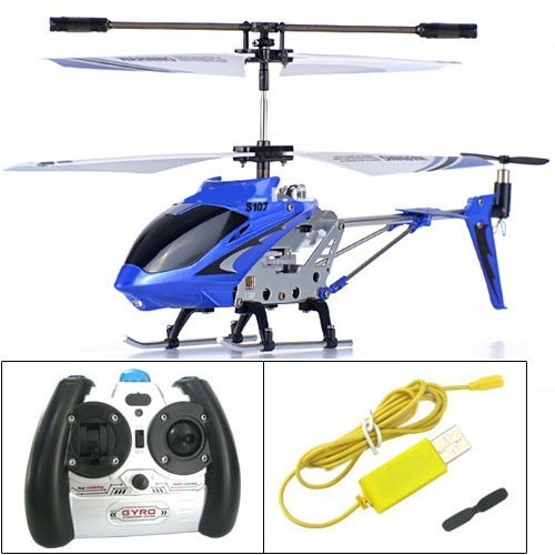 Syma S107G 3 Channel RC Helicopter with Gyro, Blue]()