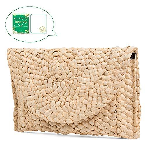 Straw Clutch Handbag, Xmeng Women Straw woven Purse Envelope Bag Wallet Summer Beach Bag for ()