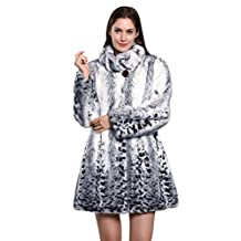 Adelaqueen Women's Snow Leopard Print Lush Faux Fur Mink Coat with Lower Hem