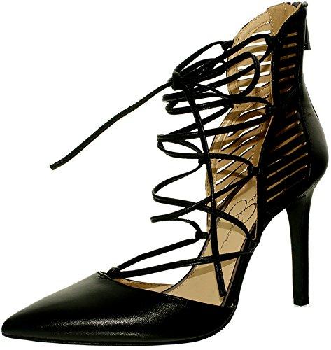 Jessica Simpson Femmes En Cuir Cynessa Noir Cheville-haute Pompe - 8.5m