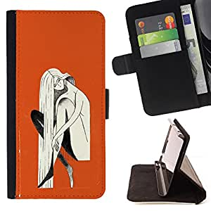 Jordan Colourful Shop - orange blonde woman painting For Sony Xperia Z1 Compact D5503 - < Leather Case Absorci????n cubierta de la caja de alto impacto > -