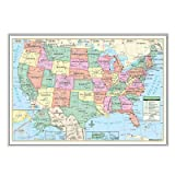 United States Primary Mounted Framed Wall Map Frame Color: Silver