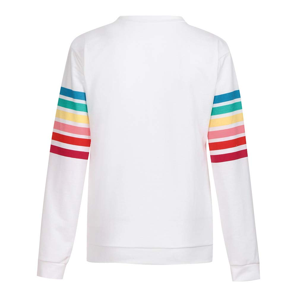 Rambling Womens Sweatshirt Pullover Striped Rainbow Color Long Sleeve Round Neck Casuel Blouse by Rambling (Image #4)