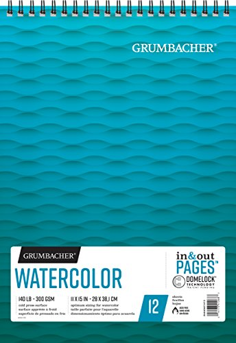 (Grumbacher Watercolor Paper Pad with In & Out Pages, 140 lb. /300 GSM, 11 x 15 inches, Side Wired, 12 White Cold-Press Sheets/Pad, 1 Pad, 26460601413)