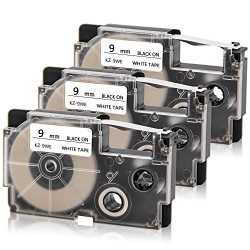 (Absonic XR-6WE 6mm Labelling Tape Black on White Compatible for Casio KL-60 KL-120 KL-100 KL-7000 KL-750 KL-780 KL-7200 KL-8100 KL-820 KLHD1 KL430 KL60L KL60SR KL Label Maker, 1/4'' x 26.2', 3-Pack)