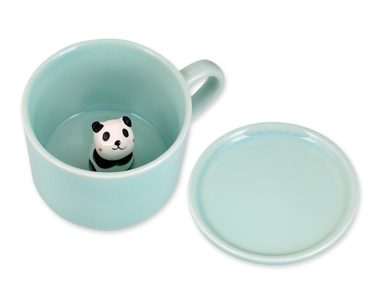Ace Select Cute 3D Animal Milk Cup Small 8oz Ceramic Espresso Coffee Mug Novelty Tea Cup with Coaster Lovely Gift for Kids Boys Girls Girlfriend - Panda