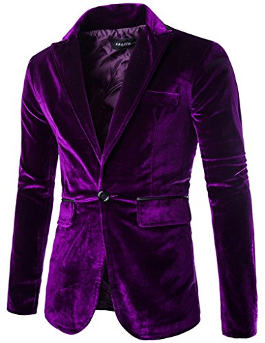 Porlox Mens Slim Fit Peaked Lapel 1 Button Velvet Blazer Jacket Purple,US XS / Label M