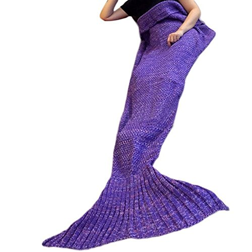 Holidayli Handmade Knitted Mermaid Tail Blanket, Warm Sofa Quilt Living Room Sleeping Bag for Adults and Kids 71inch x35.4 inch (Purple)