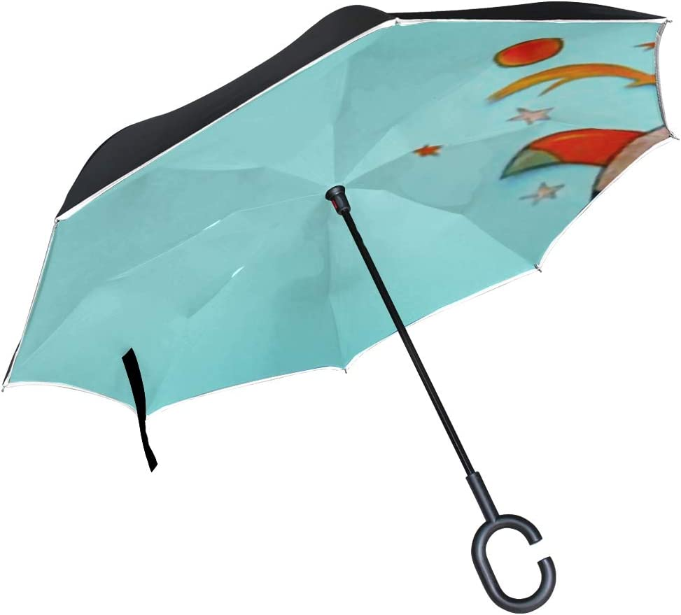Double Layer Inverted Inverted Umbrella Is Light And Sturdy Back School Banner Rocket Cut Paper Reverse Umbrella And Windproof Umbrella Edge Night Re