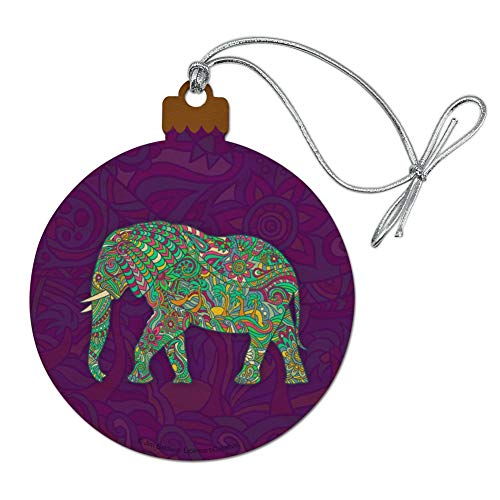 GRAPHICS & MORE Mosaic Elephant Wood Christmas Tree Holiday Ornament (Elephant Wooden Ornaments)
