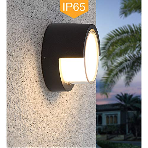 Pathson Outdoor Wall Sconce 8W LED Lamps Waterproof Indoor Modern Low Profile Lighting Fixtures 3000K Warm White Wall Mount Light for Porch Courtyards Matte Black Finish (Warm Light) ()