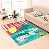 Nalahome Custom carpet ations Hawaii Sandy Coastline Sunny Day Surfboard Tropics Famous Honeymoon Destination Sand Teal area rugs for Living Dining Room Bedroom Hallway Office Carpet (5' X 7')