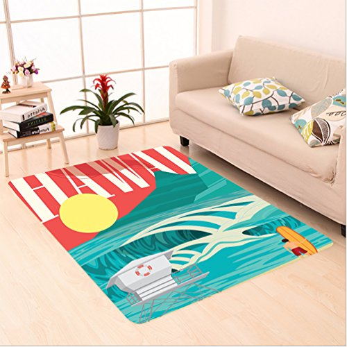 Nalahome Custom carpet ations Hawaii Sandy Coastline Sunny Day Surfboard Tropics Famous Honeymoon Destination Sand Teal area rugs for Living Dining Room Bedroom Hallway Office Carpet (5' X 7') by Nalahome
