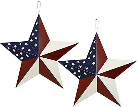 Patriotic Metal Barn Star Outdoor Indoor Hanging Wall Decor Star Ornaments 4th Of July Decoration Country Style 2pcs 12 A Everything Else