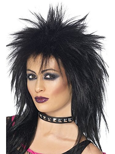 Smiffy's Women's Long Black Mullet Wig, One Size, Rock Diva Wig, 42238 (Buy Mullet Wig)