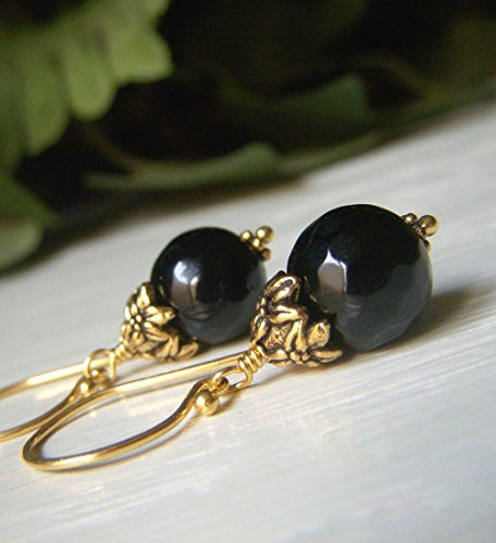 arrings Gold - 10mm Short Round Gemstone Dangle - Classic Everyday ()
