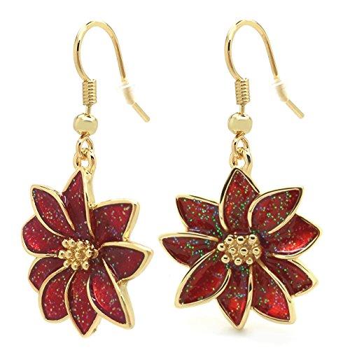 Poinsettia Dangle Earrings Christmas Flower Red Enamel Hook Gold Plated Women Fashion