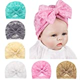 Baby Girls Bowknot Turban Hats Lace, Soft & Skin-Friendly Newborn Nursing Hat Beanie India Hats Big Bow By Fooeedd (Gray)