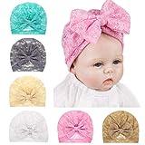 Baby Girls Bowknot Turban Hats Lace, Soft & Skin-Friendly Newborn Nursing Hat Beanie India Hats Big Bow By Fooeedd (Pink)
