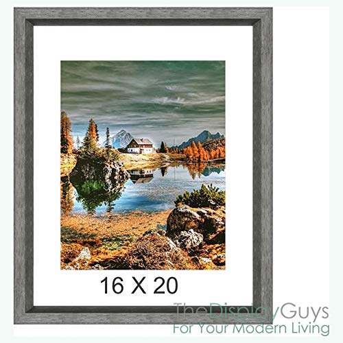 "The Display Guys~ Luxury Made Affordable! 16""x20"" Tempered Glass Photo Frame in Grey Walnut Wood Finish Beveled Profile Elegant and Contemporary"