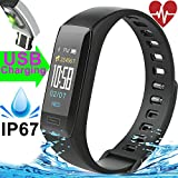 Fitness Tracker Heart Rate Blood Pressure Sleep Monitor IP67 Waterproof GPS Activity Tracker Watch for Women Men Kids 0.96'' Colorful Screen Sport Wristband Bracelet Pedometer for iOS Android (Black)