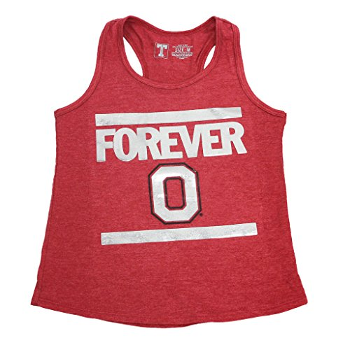 University Tees Girl's OSU Ohio State Buckeyes Foil Letter (Ohio State Letters Tee)