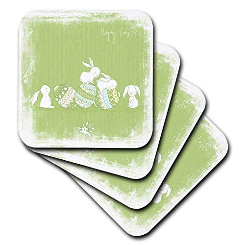 (3dRose Uta Naumann Sayings and Typography - Cute Framed Green Watercolor Animal Illustration - Bunny- Happy Easter - set of 4 Ceramic Tile Coasters (cst_289950_3))