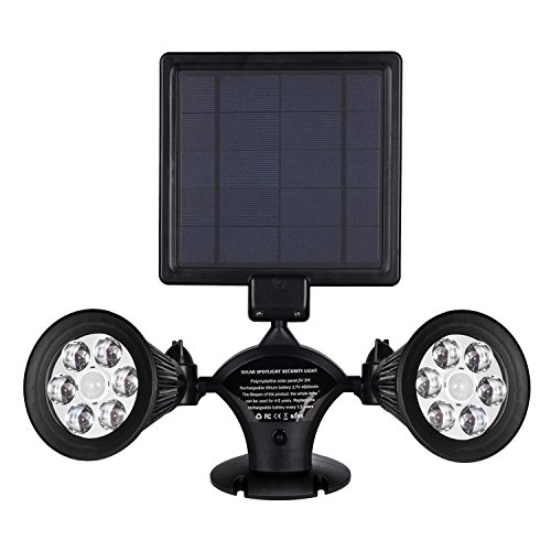 Solar Lights Motion Sensor Outdoor, OPERNEE Upgraded Double Spotlights 12 LED Solar Powered Dual head 360 Degree Rotatable Security Light for Patio Porch Deck Yard Garden Garage Driveway Outsides Wall (Solar Column Lights Outdoor)