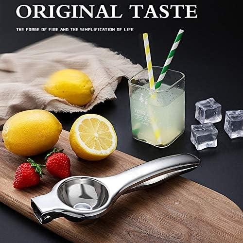 YIYUE Exprimidor de limón, exprimidor de limón, exprimidor de metal para limones, acero inoxidable, paño de limpieza, regalo, utensilios de cocina, I: 21 cm, W: 7 cm