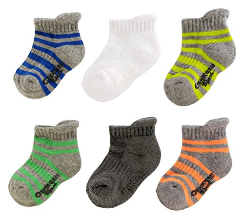 OshKosh B'Gosh Toddler Boy Ankle Socks (6 Pack), Athletic Stripe, 2-4 Years