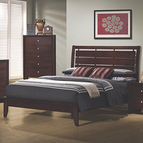 Coaster Home Furnishings Serenity Queen Platform Bed with Cut-Out Headboard Rich Merlot ()