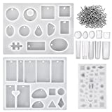 Mtlee 13 Pieces Assorted Designs Resin Casting Molds Silicone Jewelry Making Molds Set with 100 Pieces Mini Screw Eye Pins for Jewelry Pendants DIY