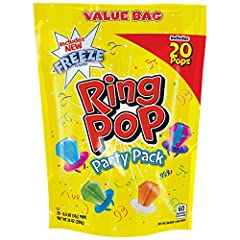 Ring POP is the ultimate iconic wearable lollipop with an enormous eye-catching candy gem that tastes as good as it looks. Slip it on your finger and enjoy the flavoring the attention!each bag includes 20 0.5 oz individually-wrapped Ring POP ...