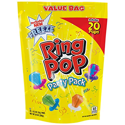 Ring Pop Individually Wrapped Variety Party Pack - 20 Count Candy Lollipop Suckers w/ Assorted Flavors