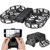 Kingtoys Foldable Drone, DWI Dowellin D7 RC Drone with Camera, 480P 720P FPV WiFi Control 2.4G 4CH 6 Axis Gyro, Altitude Hold, Headless Mode Function, with Black Box + 2 pcs 3.7V 380mAh Lipo Battery