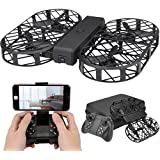 Kingtoys Foldable Drone, Dwi Dowellin D7 RC Drone with Camera, 480P 720P FPV WiFi Control 2.4G 4CH 6 Axis Gyro, Altitude Hold, Headless Mode Function ,with Black Box +2 pcs 3.7V 380mAh Lipo Battery