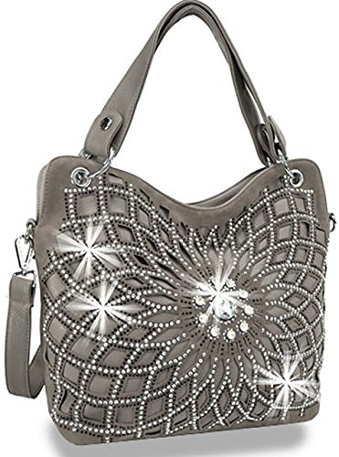 Zzfab Double Handles Starburst Bling Purse Pewter