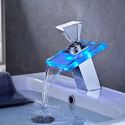 ROVATE Bathroom Sink LED Waterfall Faucet 3 Colors Changing Temperature Control Light Mixer Polished Chrome Tap (Waterfall Light 3)