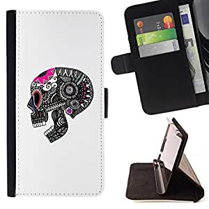 Momo Phone Case / Flip Funda de Cuero Case Cover - Cráneo divertido Muerte Blanco Rosa Negro - Sony Xperia M2