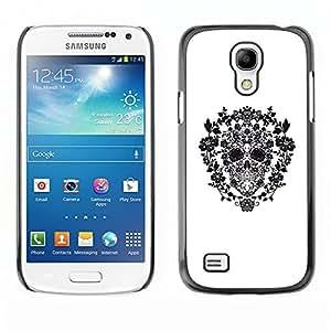 Ihec Tech Blanco Negro floral primavera cráneo / Funda Case back Cover guard / for Samsung Galaxy S4 Mini i9190