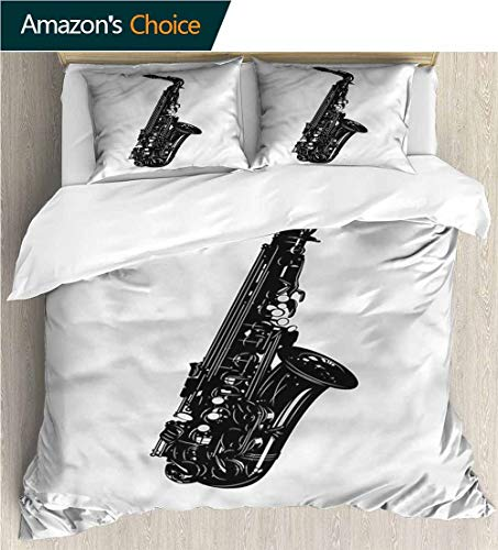 carmaxs-home Full Queen Duvet Cover Sets,Box Stitched,Soft,Breathable,Hypoallergenic,Fade Resistant Kids Bedding-Does Not Shrink Or Wrinkle-Saxophone Monochrome Style Melody (104