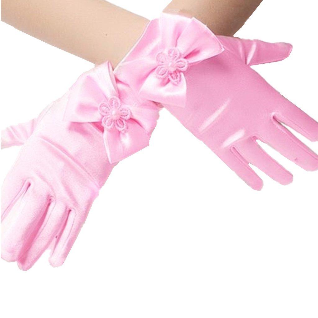 DreamHigh Wedding Flower Girl's Stretch Satin Dress Gloves