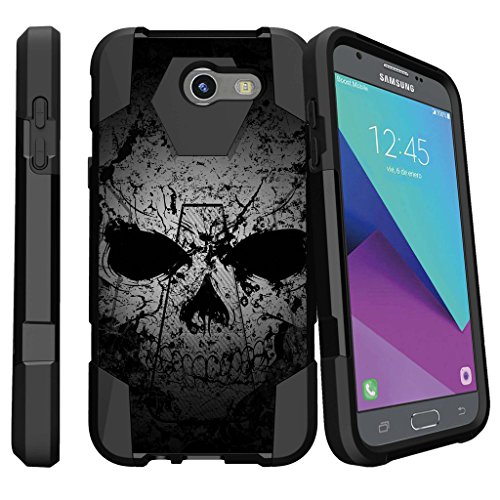 MINITURTLE Case Compatible w/ Design Case [Shock Fusion] Hard Shell Case for [Samsung Galaxy J3 Emerge | J3 Prime | J3 Eclipse | Galaxy Luna Pro] Hybrid Layers Case w/ (Skull Hard Case)