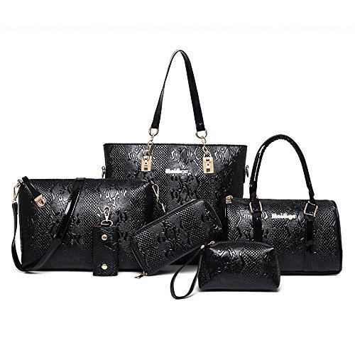 Women Handbag,Women Bag,KINGH Crocodile pattern PU Leather Tote Clutch Purse 6 PCS Set Bag 272 Black
