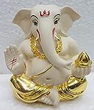 Gold Art India Ceramic Off Appu Ganesha for Car Dashboard(5x4x3cm, Gold)