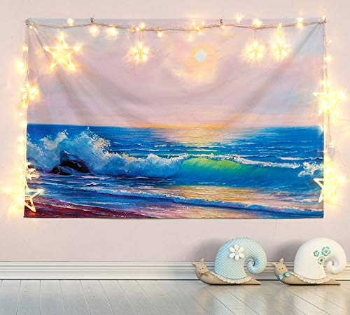 Tapestry Wall Hanging, Ocean Wave Sunset Tapestry Nature Landscape Wall Blanket Home Decorations for Living Room Bedroom Apartment Dorm Decor
