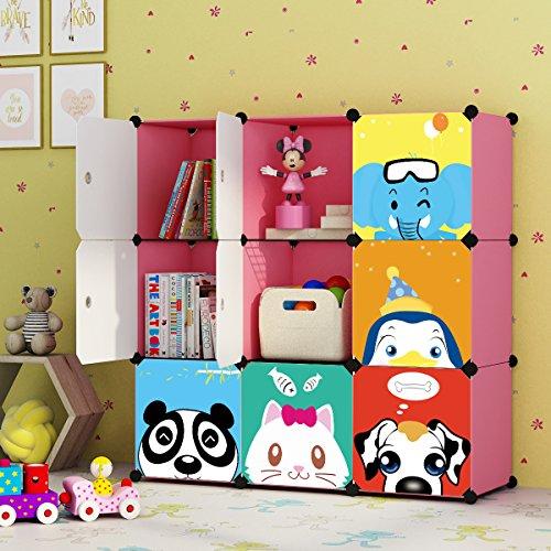 KOUSI Kids' Toy Storage Organizer Bookcase, 9 Storage Cube Pink