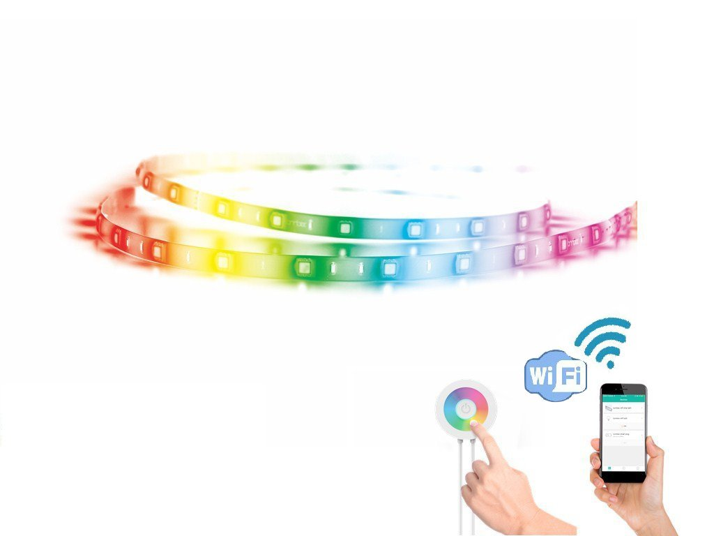 Lombex Smart Wifi LED Light Strip Color Changing RGB Light Strip Rope Multi-Color Dimmable Strips Lighting Compatible With Alexa Google Home IFTTT Indoor Bedroom Under Cabinet Light 5 Meters