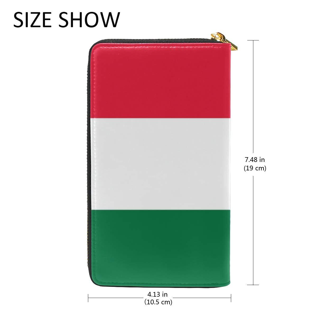 Slim Minimalist Leather Wallets For Women Men Hungarian Flag